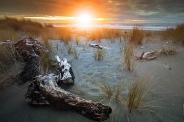 beautiful sunset sky at hokitika sea beach south island new zealand most popular natural traveling destination
