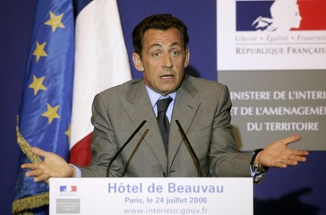 France's Interior Minister Nicolas Sarkozy addresses a press conference on immigration in Paris
