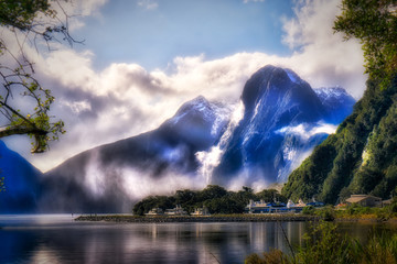 The Cruise Ship Marina in Milford Sound Dwarfed by the Mountains