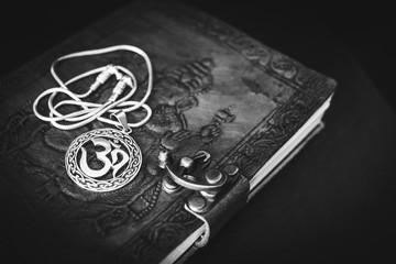 Om/Aum symbol. Black and white photo.