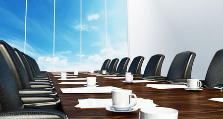 Boardroom table with black leather chairs. 3D illustration