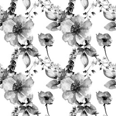 Original floral seamless background with flowers