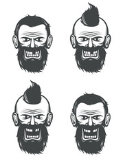 Evil face of a bearded man with an open and a closed mouth. Vector black and white illustration.