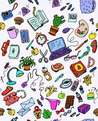 рабочий стол, предметы учебы и развлечений