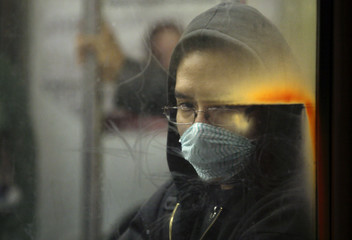 Passenger wearing protective mask rides on Mexico's city subway