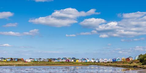 Beach huts in Mudeford sandbanks in UK.