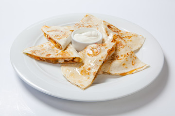 original mexican quesadilla with chicken and vegetables