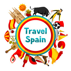 Spain background design. Spanish traditional symbols and objects