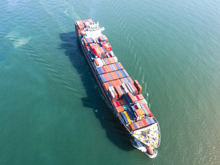 container vessel ship sailing in the sea in aerial view