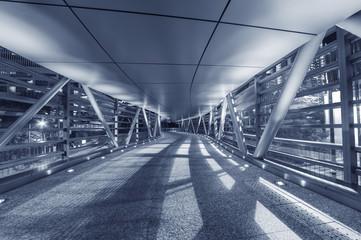 Empty modern pedestrian walkway
