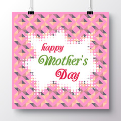 Poster with the phrase of a happy mother's day against the background of a seamless pattern. Vector illustration for wallpaper, flyers, invitation, posters, brochure, greeting card, banner.