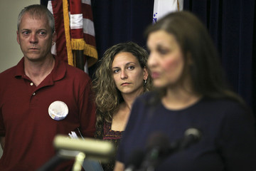 Family members of September 11 victims attend news conference at at Camp Justice