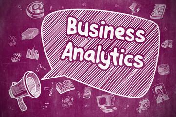 Business Concept. Horn Speaker with Wording Business Analytics. Cartoon Illustration on Purple Chalkboard.