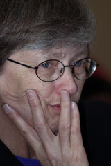 DIRECTOR OF UNICEF CAROL BELLAMY LISTENS TO QUESTIONS AT A PRESSCONFERENCE IN NAIROBI.