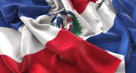 Dominican Republic Flag Ruffled Beautifully Waving Macro Close-Up Shot
