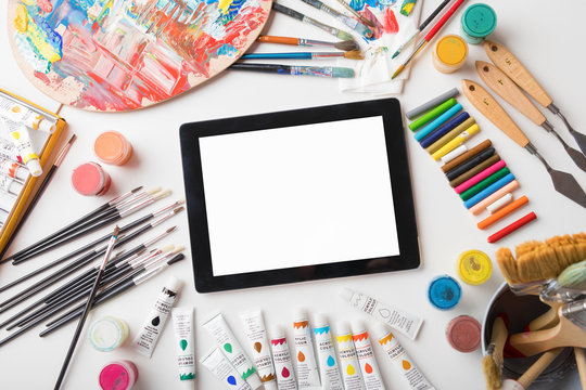Tablet computer on artists table