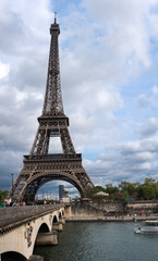 Eiffel Tower with bridge over river Seine,Paris,France
