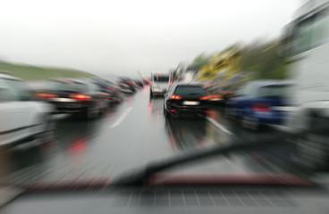 traffic jam and rain