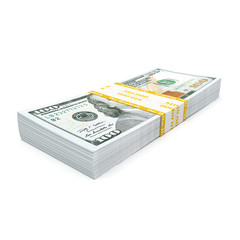 3d rendering a pack of US dollars