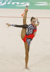 Inna Zhokova of Belarus performs with the rope in the individual all-around qualification during the rhythmic gymnastics competition at the Beijing 2008 Olympic Games