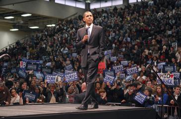 Democratic presidential candidate Senator Barack Obama (D-IL) speaks to his supporters in Ohio