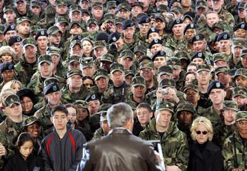 Troops listen to US President Bush speak in Korea