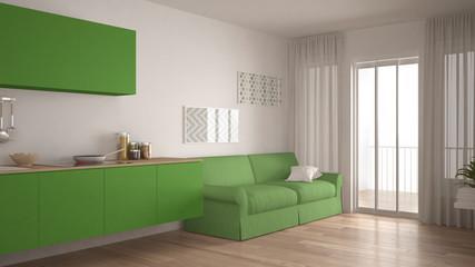Scandinavian kitchen with sofa, wooden parquet floor, white and green minimalist interior design