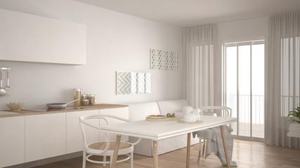 Scandinavian kitchen with sofa and table, wooden parquet floor, white minimalist interior design