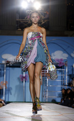 A model displays a creation from the Heatherette 2008 collection during New York Fashion Week