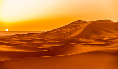Sunrise over the sand dunes of Erg Chebbi in Sahara , Morocco Wall mural