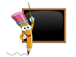 Pencil Mascot cartoon stick teaching blank blackboard isolated