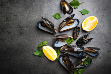 Boiled mussels at black