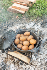 baked potatoes in the fire