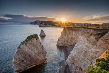 Freshwater Bay, Isle of Wight, England at Sundown Wall mural