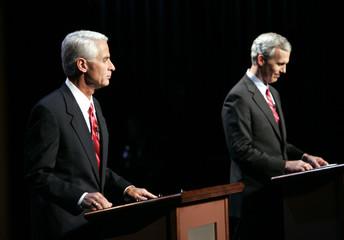 Democratic candidate for Governor Davis and Republican candidate Crist debate at Nova Southeastern University in Davie, Florida