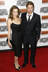 """Actors Brad Pitt and Angelina Jolie arrive for the premiere of the film """"The Assassination of Jesse James By The Coward Robert Ford"""" in New York"""