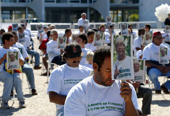 Brazilian demonstrators protest in front of the Planalto Palace in Brasilia.