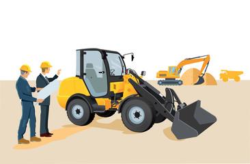Baustelle mit Radlader und Bagger