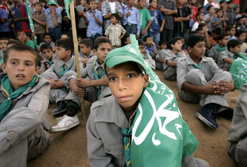 Palestinian supporters of Hamas attend Israeli pullout celebration ceremony in now Egyptian and Palestinian border in Rafah