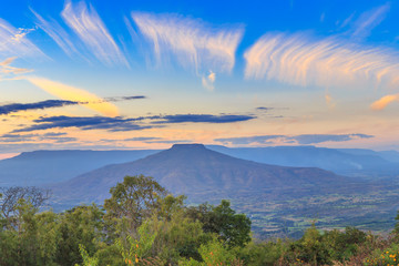 Sunset with Mountain looks like Mount Fuji in Japan., Landscape at Phu Hor , Loei Province,Thailand