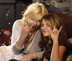 """Rock star Courtney Love and daughter Frances Bean attend the finale of Fox's """"American Idol"""" at the .."""