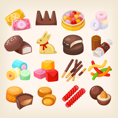 Set of top popular sweet desserts for halloween, easter, christmas. Chocolate bars, candies and other sweet food.