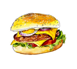 Fast food. Cheeseburger. Watercolor hand drawn illustration.