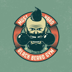 Bearded man holds in his mouth an old dumbbell. Grunge poster in retro colors. Shabby texture on separate layers and can be easily disabled.