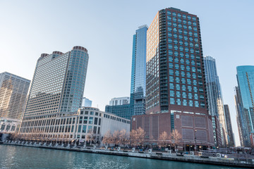 Chicago Cityscape with Skyscraper and Chicago River