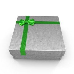 Square silver giftbox with lid tied with an ornamental green ribbon on white. 3D illustration