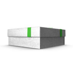 Present box with overwhelming bow isolated on white. 3D illustration
