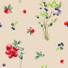 Seamless pattern repeated tile of watercolor berries