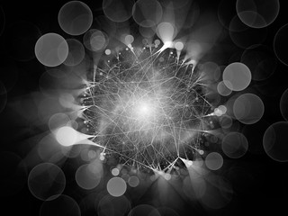 Glowing network connections with circular bokeh black and white texture