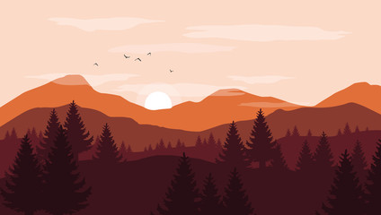 Landscape with orange and red silhouettes of mountains and hills with sunset pink sky - vector illustration